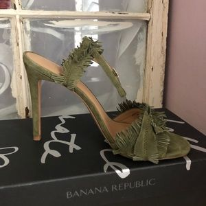 Olive colored suede strap heels ..